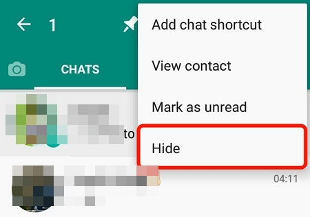 hide chats on whatsapp